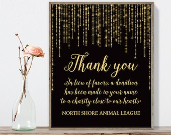 Wedding Thank You Sign / In Lieu of Favors / Great Gatsby Inspired Bokeh String Light / Black Gold ▷ Printable File {or} Printed & Shipped