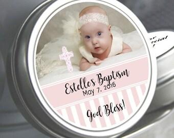 Girls Baptism, Candy Tins, Baptism Favors, Baptism Mint Tins, Party Favors, Candy Favors, Photo Baptism Favors