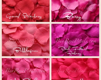 Hot Pink Rose Petals - Shades of Hot Pink Silk Rose Petals for Weddings