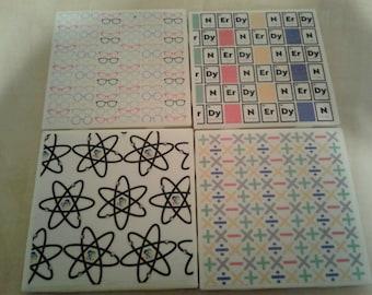 SALE Nerdy Inspired Ceramic Tile Coasters