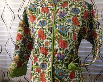 Reversible Quited Jacket- Cottopn- Lime Green and Floral
