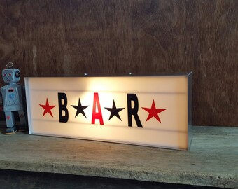 Lightbox 'BAR' sign