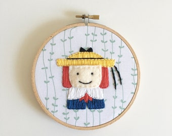 Madeline Embroidery Hoop.  Embroidered Felt Wall Hanging