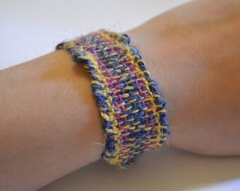 Dark Blue / Pink and Gold Woven Bracelet