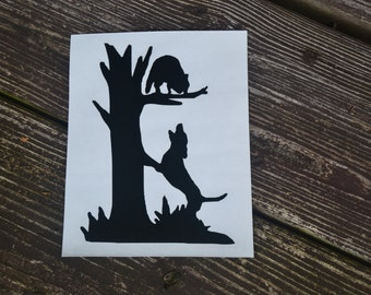Coon Hunting Dog Treeing Coon Decal