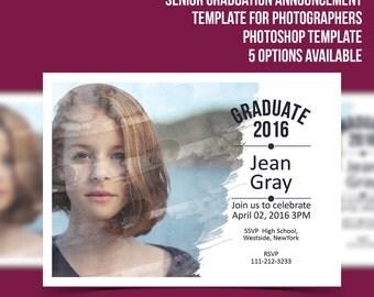 Senior Graduation Announcement Template - Photographer marketing- Photoshop card  5 x 7