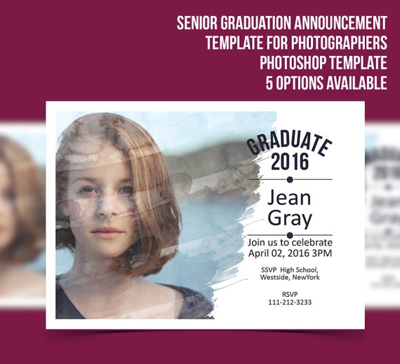 Senior graduation announcement template photographer for Free senior templates for photoshop