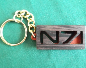 Mass Effect Key chain, N 7 Keyring, Gift for Gamer, Geeky Key ring, Exotic wood Accessory, Cosplay Accessory