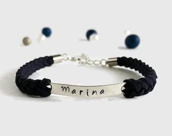 Delicate name bracelet Personalized monogram bracelet Personalized id bracelet Customized name bracelet for her Personalized women jewelry