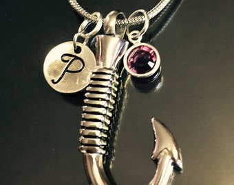 "Cremation Jewelry ""fish hook"" Pendant Keepsake Urn Necklace with FREE 20"" Chain & Fill Kit Choose Initial and Birthstone"
