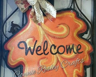 Fall Leaf Burlap Door Hanger Decoration and Wreath Replacement