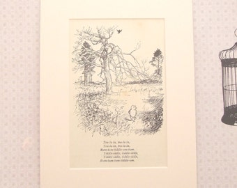 "Reclaimed Antique Mounted ""Winnie The Pooh"" Book Page, Childhood Memories, Wall Art - One of a kind"