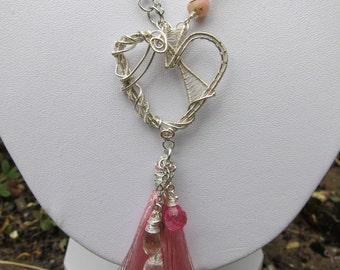 Opal heart necklace, asymmetric necklace