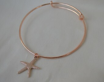 Rose gold plated bracelet, rose gold plated jewellery,flower bracelet,vintage style bracelet,starfish bangle, starfish necklace, beach theme