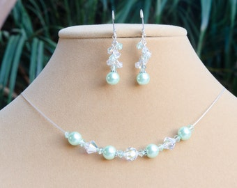 Mint Green Necklace Earring Set Mint Bridesmaid Jewelry Gift Light Green Celestial® Glass Pearl & Swarovski® Crystal Beaded Necklace