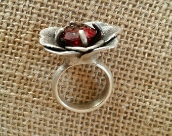 Ruby, stone, Sterling silver, ring