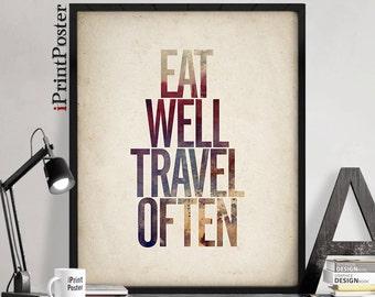 Eat well travel often, inspirational poster, quote wall art, motivational poster, wall art, quote, typography print, art print, iPrintPoster