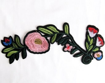 Pink Flower Branch Patches  Pink Applique  Flower Applique Sew On Flower Appliques Patches