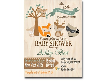Baby Shower Gender Neutral Invitation, woodland printable baby shower invitations, woodland baby shower printable