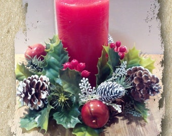 Vintage 1960 Plastic Candle Wreath Ring Christmas Decor