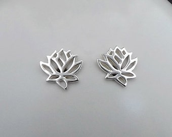 Small Lotus Post Earrings Sterling Silver Flower, Simple Minimal Stud Earring, Womens Yoga Nature Jewelry