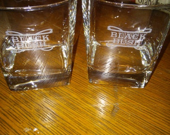 Pair of Black Bush Etched Lowball Glasses
