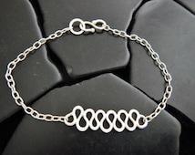 Sterling Silver Eternity Wave Bracelet, Unique Silver Bracelet, Gift for Her, Bridesmaid Gift, Friendship Bracelet, Delicate Bracelet