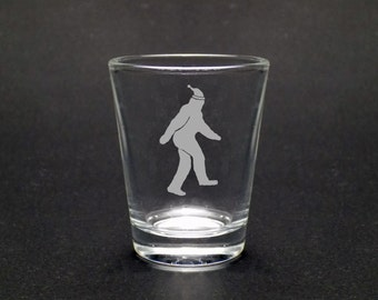 Bigfoot Christmas - Bigfoot Shot Glass - Yeti Shot Glass - Washington Christmas - Sasquatch Glass - Sasquatch Christmas