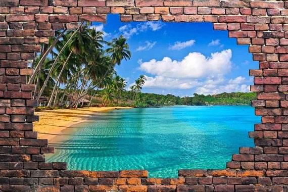 Tropical beach viewed through a broken brick wall 3d vinyl for Broken wall mural