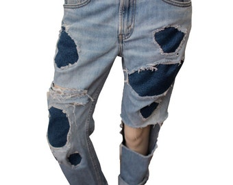 Patchwork bf jeans