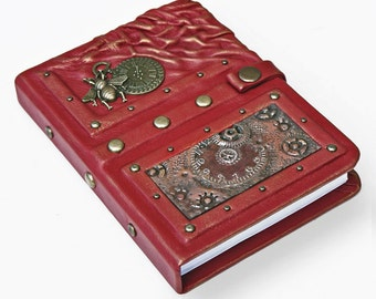 Handmade steampunk leather journal, leather notebook, travel journal, travel notebook,writing journal,steampunk,journals with lock