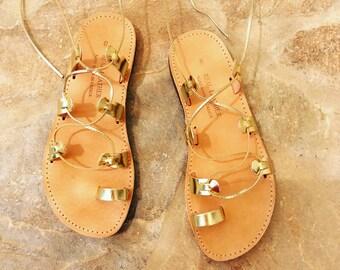 Gold gladiator sandals,Leather Sandals, Tie up gold sandals, Greek Sandals in Gold, Gold Flat sandals, Handmade Gladiator Sandals