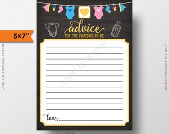 "Parents-to-Be Advice Cards for Parents Baby Shower Activity, Neutral Chalkboard, Clothesline, 5x7"" Instant Download Digital Printable"
