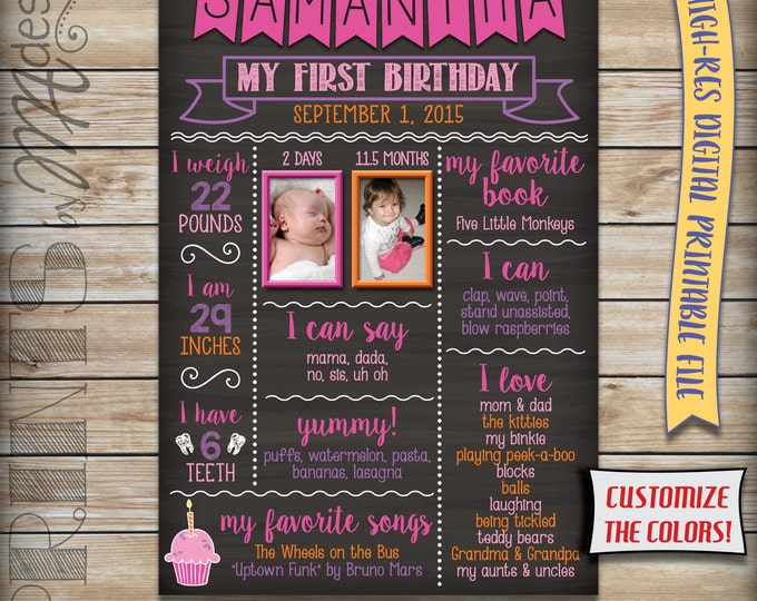 "First Birthday Poster with Photos Baby Girl's Personalized Milestones Sign, Custom Stats, Birthday Chalkboard Style PRINTABLE 24x36"" Sign"