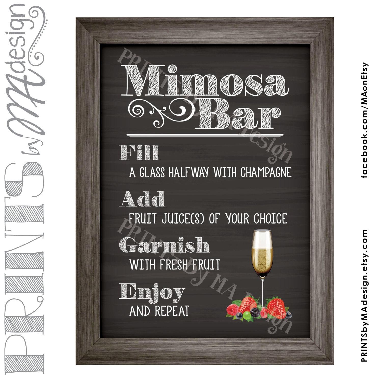 mimosa bar sign  make your own mimosa sign  bridal shower