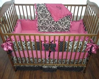 Hot pink, black and white damask baby bedding