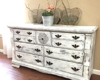 SOLD - White Distressed Dresser