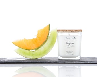 Cantaloupe and honeydew melon, soy candle