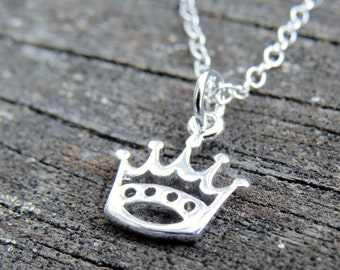 sterling silver crown necklace, crown charm, minimalist necklace, add a birth stone, small delicate crown jewelry, crown charm necklace,