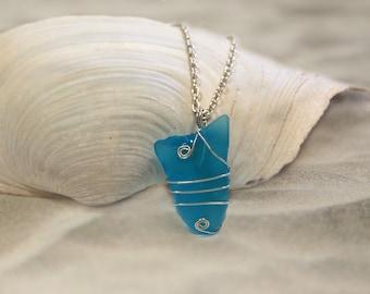 Blue Sea Glass Jewelry Beach Glass Jewelry Sea Glass Necklace Seaglass Jewelry Beach Necklace Beach Glass Necklace Seaglass Necklace