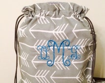 Monogrammed Backpack Bag - Arrow Design.  Perfect for Shopping, Biking, Yoga Mat, Gym, Hiking or the Beach.  Standard size or Yoga Mat Size