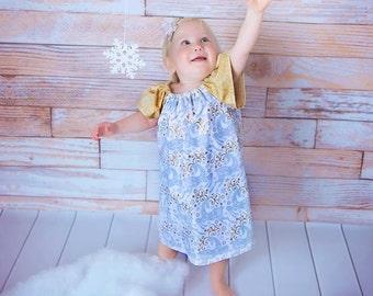 Girls Christmas dress, Toddler Christmas dress, Christmas dress reindeer, Girls Christmas dress gold,  Size 2T, Ready to ship