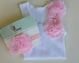 Embellished singlet, Shabby Chic, pink Flower, Girls Singlet, Lace headband, flower singlet, baby girl singlet, lace flower, girls set