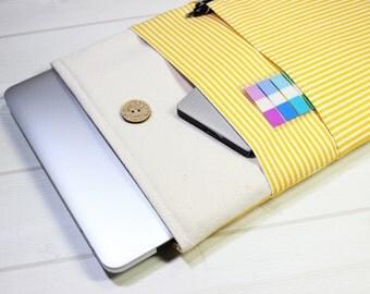 Macbook Air case,  Macbook case, Macbook sleeve 12, yellow stripe laptop case, 12 inch laptop case, minimal Macbook case, 11 inch Macbook