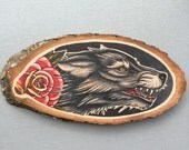Wood slice with an original drawing of a wolf and rose 'tattoo style'