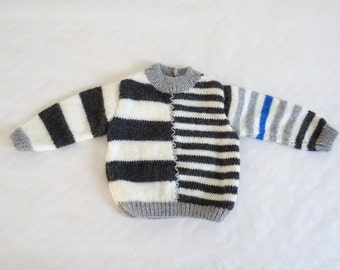 Hand knitted baby sweater - in gray and ecru stripes - size 6 months