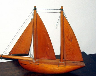 Old Wooden Sailboat SOUVENIR CASPE SPAIN