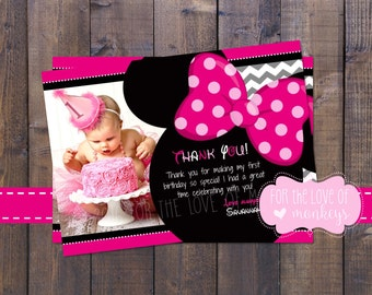 Minnie Thank You Card, Thank You Note