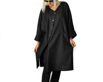 Black 100% linen long shirt/Asymmetrical black casual tunic/Extravagant Linen shirt/Plus size tunic/Handmade shirt/Maxi tunic/Oversize/T1219