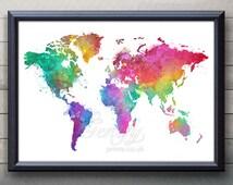 World Map Watercolor Art Poster Print - Wall Decor - Watercolor Wall Art - Artwork- Watercolor Painting - Illustration - Home Decor [2]